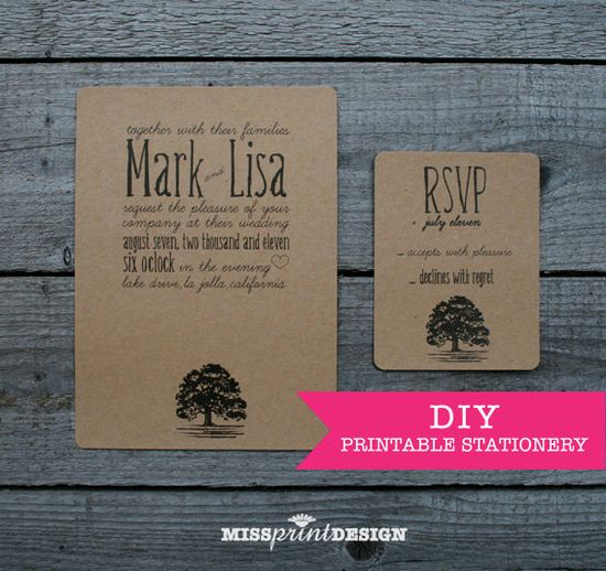 DIY Printable Wedding Invitation - Lonely Oak.