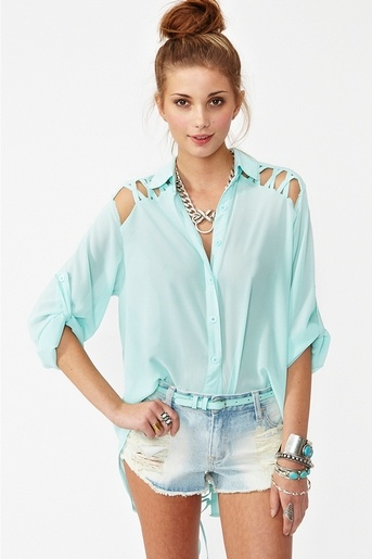 Laced Tail Blouse in Sky Blue