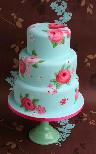 Blue and pink hand-painted rose wedding cake