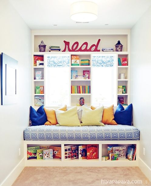 "Love this! Reading nook, Great idea for the extra, small bedroom upstairs. Gives me another ""bed"" for a guest to stay. Really loving this idea."