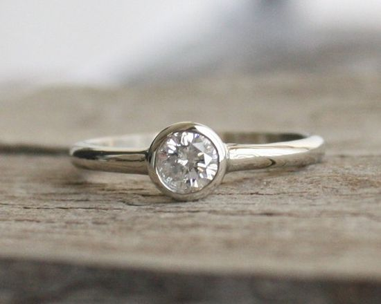 Simple Solitaire Diamond Engagement Ring in 14K White Gold $880