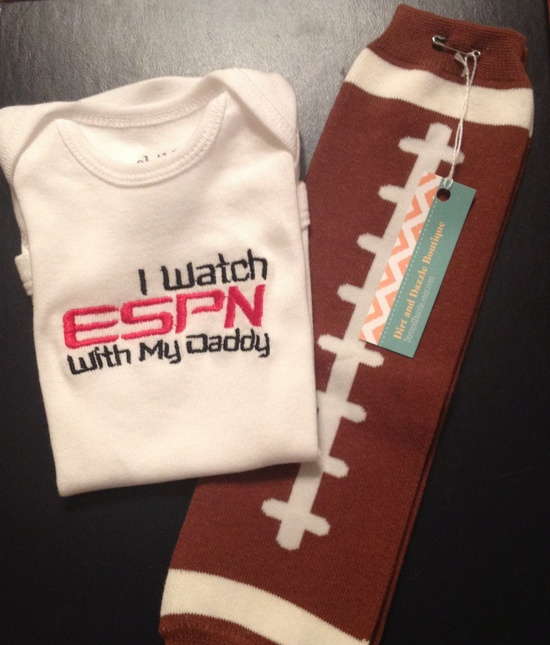 I watch ESPN with my Daddy Onesie and Football Leggings Set. $26.00, via Etsy.