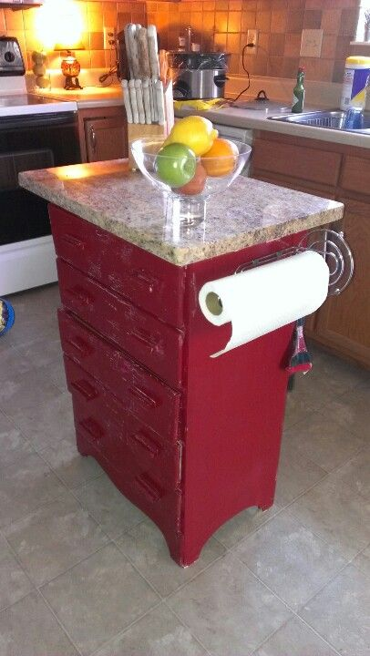 Repurposed dresser into a kitchen island.