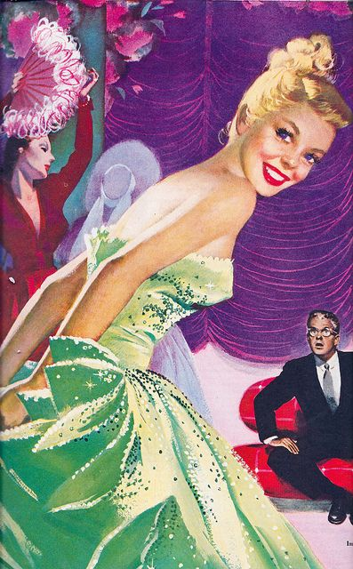 That  fabulous frock is definitely the green goddess of evening gowns! #vintage #1950s #dress #evening #gown #dance #party