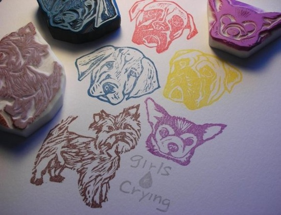 Pet portrait hand carved rubber stamp by DearYouFromKozue