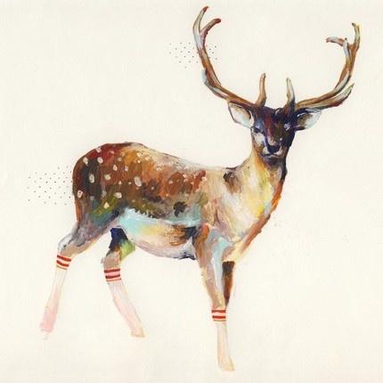 Deer with socks: painting