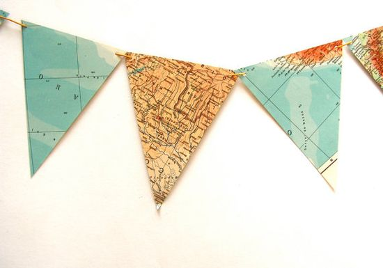 Recycled vintage map flags