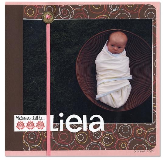welcome Little Liela - Scrapbook.com - #scrapbooking #layouts #baby