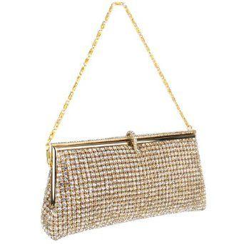 Gold Sophisticated Crystals Rhinestones Clasp Soft Clutch Evening Bag Baguette Handbag Purse w/Detachable Chain:Sale:  $138.50
