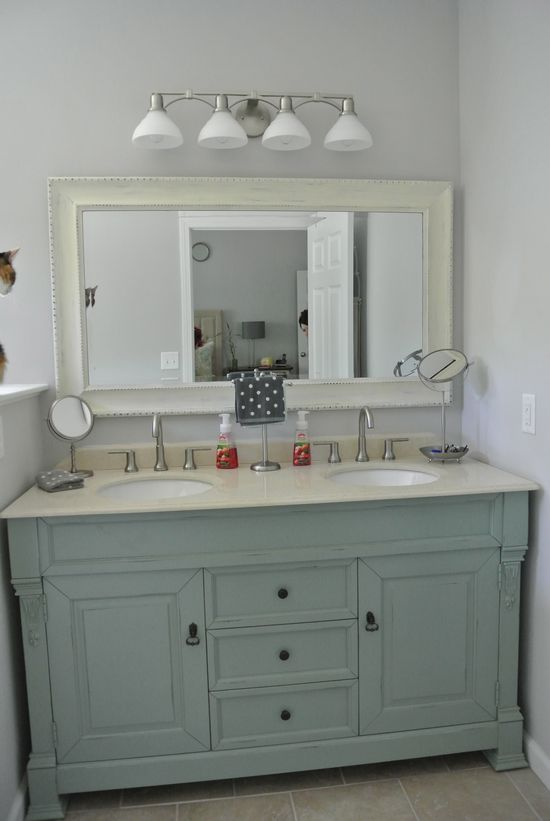 Blue dual sink vanity master bathroom