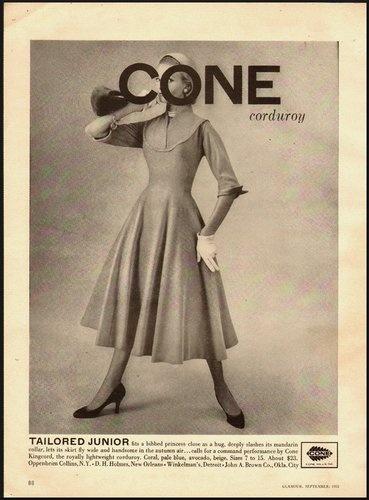 Cone Corduroy ad, 1955. #vintage #dresses #fashion #1950s #ads