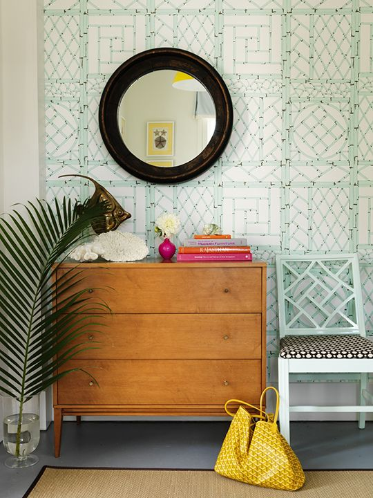 Color filled beach house by Mona Ross Berman, love this wallpaper