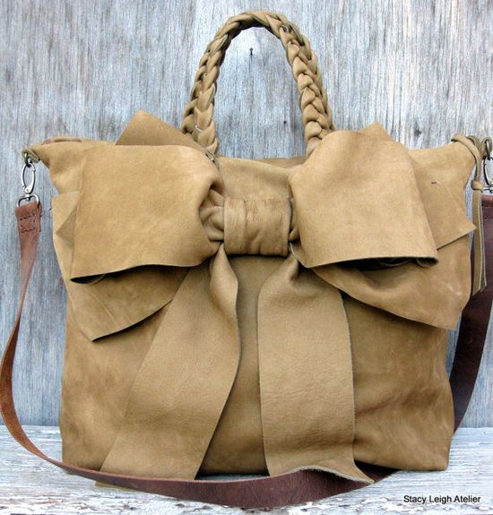 Rustic Bow Leather Handbag