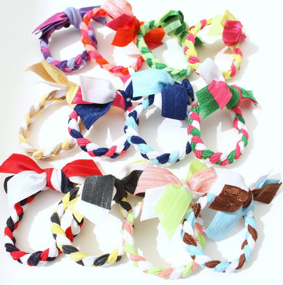 PICK 6 Braided Hair Ties  Braided Bracelets  Yoga by preppypieces, $22.00 #hairtie #braid #gift #christmas #accessories #ponytail #girls #women #stockingstuffer