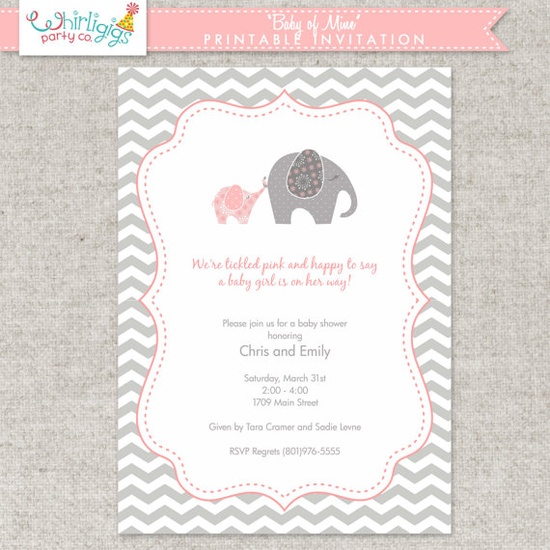 Printable Invitation for Girl Baby Shower by whirligigspartyco, $10.00
