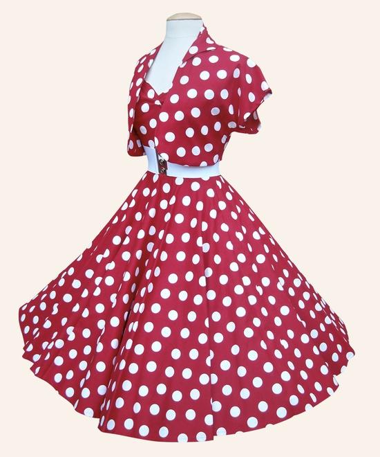 1950s Halterneck Polka Dot Dress - Red  (with matching bolero jacket) by Vivien of Holloway #red #polkadot #retro #vintage