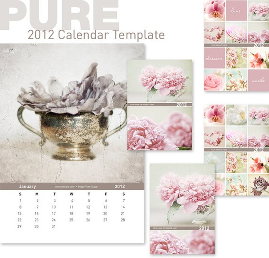 2012 Calendar template. photography tools and templates. Her work is so beautiful!