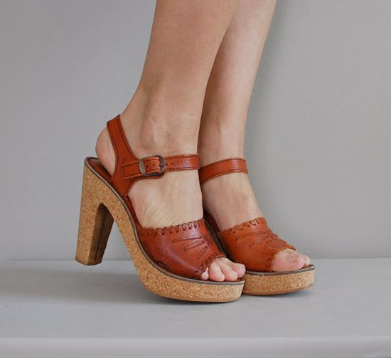 vintage 1970s Capetos cork platform shoes