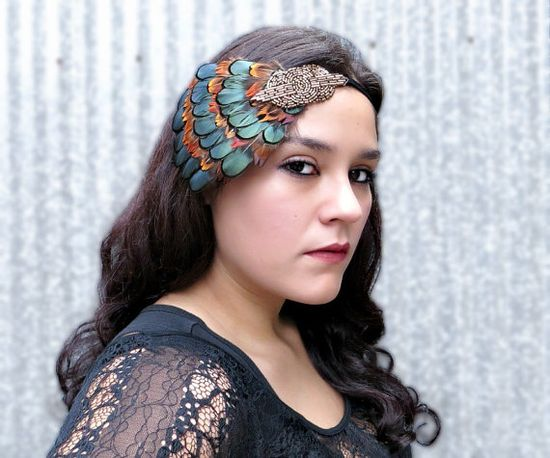 Great Gatsby Headband Flapper Headpiece Downton by FlowerCouture, $35.00 #headband #flapper #fallwedding #greatgatsby #fashion #hair #feather