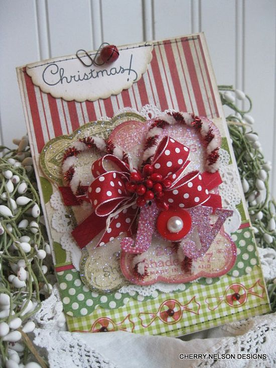 Cottage christmas glitter candy canes embroidery cards CHRISTMAS JOY stitched handmade handstamped card