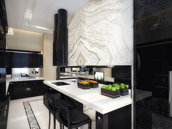 A black and white kitchen