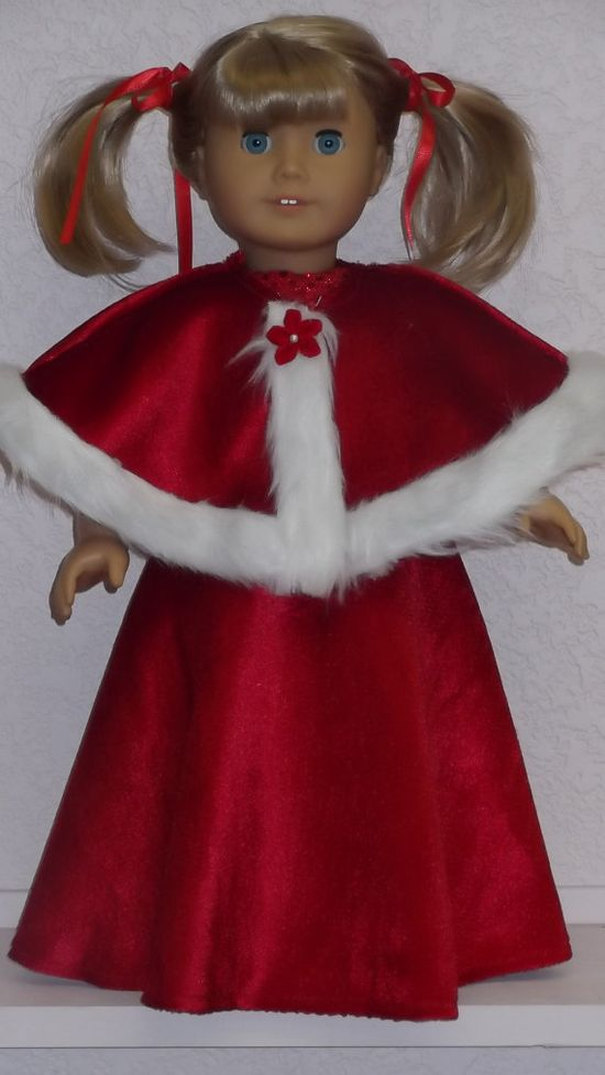 American Girl Doll Clothes  Santa Gown with Cape by susiestitchit, $21.50