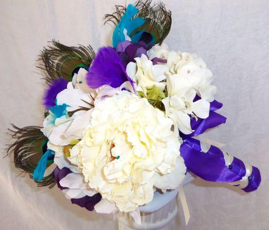 Custom Order Bridal Package Peacock Feathers via Etsy by: 3mimis