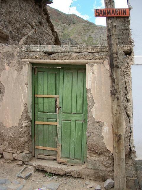 Green door in Salta, Argentina.