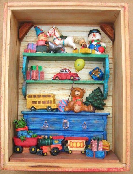 Xmas Shadow Box Childrens Toys Clay Art