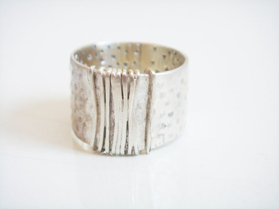 Modern handmade silver jewelry - silver ring - cool organic raw ring. Modern silver jewelry design.