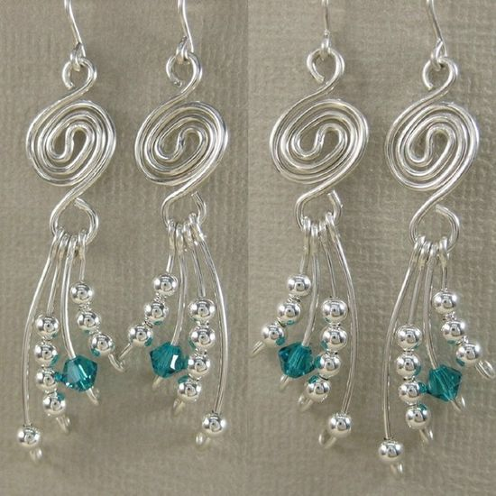 Love these swirly wire earrings with dangly wire wrapped beads!