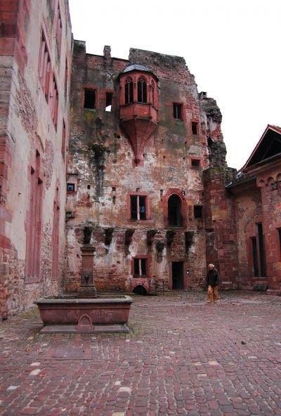 An abandoned medieval castle in Heidelberg Germany.