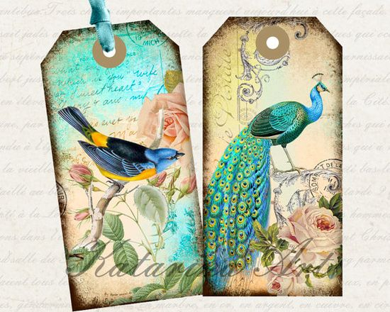 Gorgeous vintage birds on sheet of printable gift tags and labels