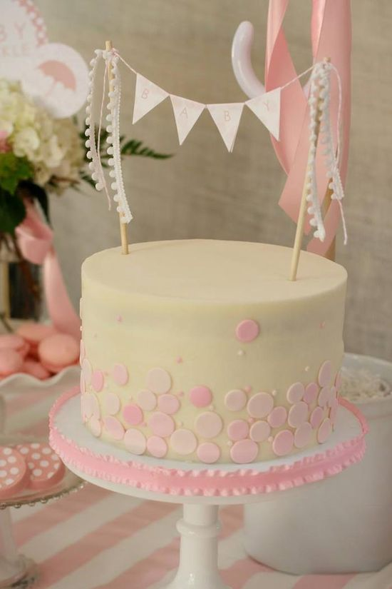 Cake at a Rain Themed Pink Baby Sprinkle with So Many REALLY CUTE IDEAS via Kara's Party Ideas