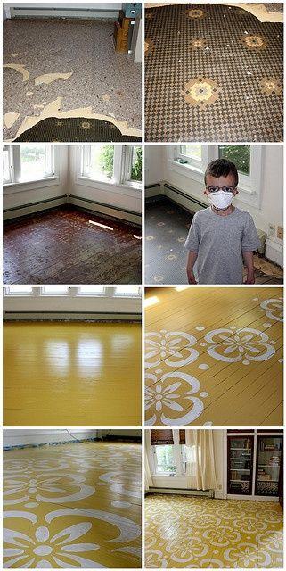 Yellow floor stencil + how to #floor design #floor design ideas #floor decorating before and after
