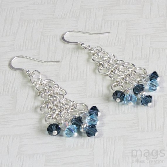 Blue Chainmaille Earrings by magsbeadscreation
