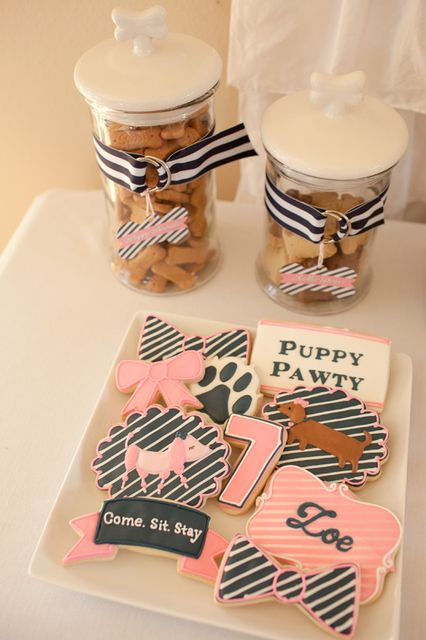 Cute treats at a Puppy party!  See more party ideas at CatchMyParty.com!  #puppy #partyideas