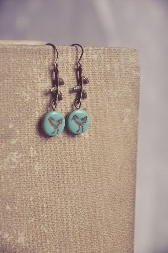 bluebird and branch earrings.