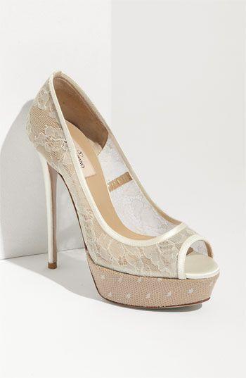 Need to practice wearing heels. Valentino 'Bridal Lace' Open Toe Pump   #Nordstromweddings