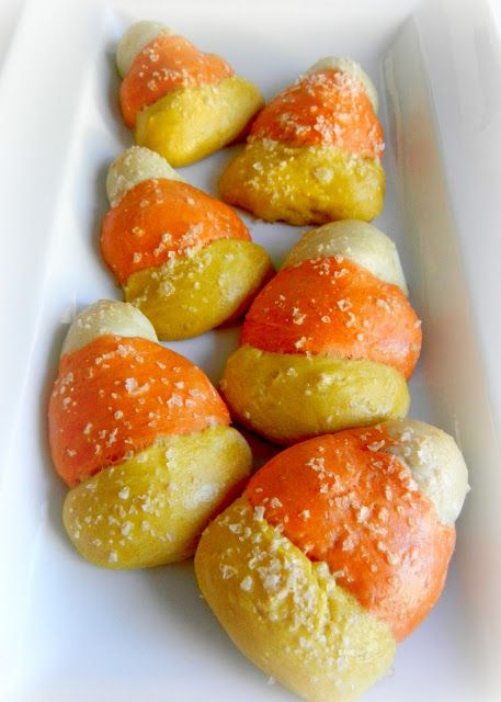 Sugar Swings! Serve Some: homemade candy corn pretzels~T~ What a great idea. Soft pretzels. Link to recipe and instructions.
