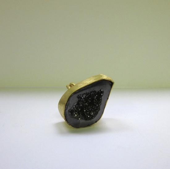 Black Crystal Half Geode Adjustable Ring by daraettinger on Etsy