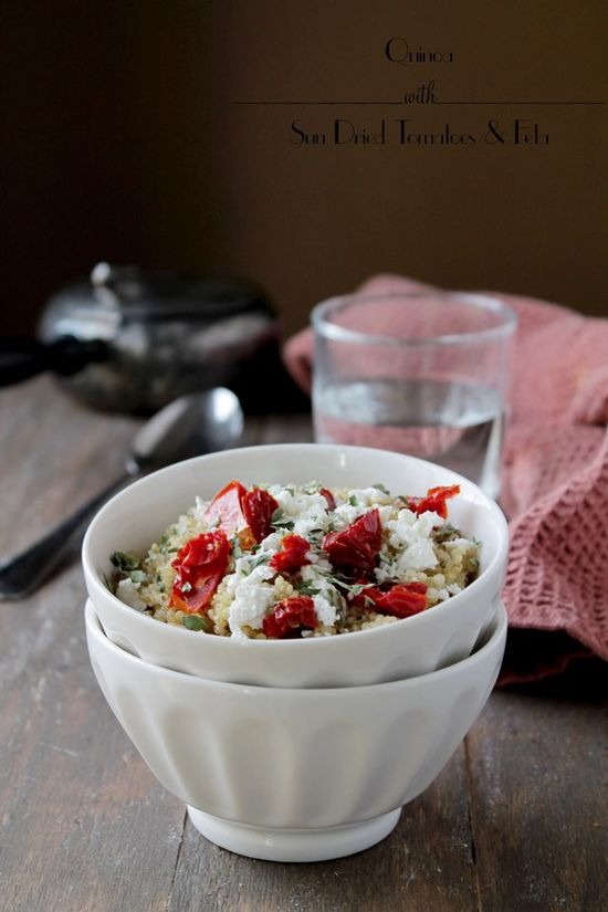 Quinoa with Sun Dried Tomatoes and Feta #quinoa #recipe @diethood