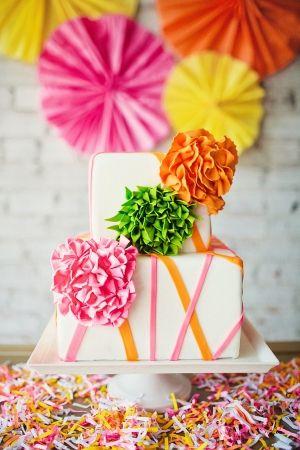 neon wedding cake by MadisonsOnMainStr... // photo by AmandaWatsonPhoto...