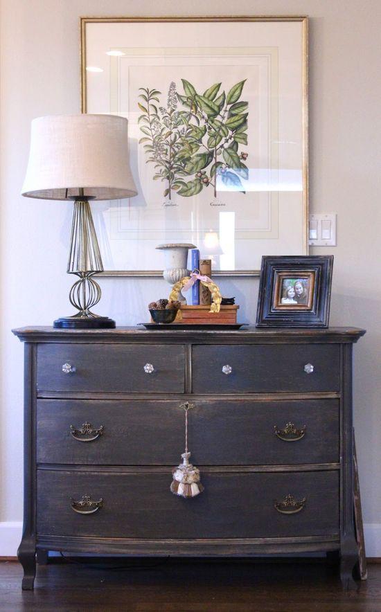 Dresser paint color: Sherwin Williams Urbane Bronze.