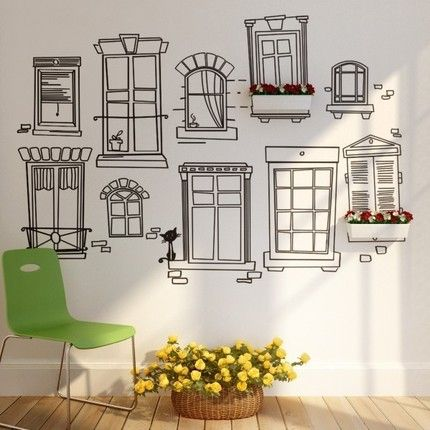 Paris Window on white wall with planters.. cute!