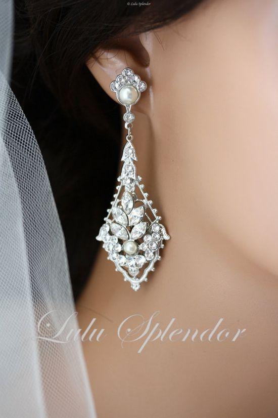 Rhinestone Chandelier Earrings, Filigree Bridal, Swarovski Pearl and Crystals, Art Deco Wedding Earrings, Vintage Wedding Jewelry,URSULA.