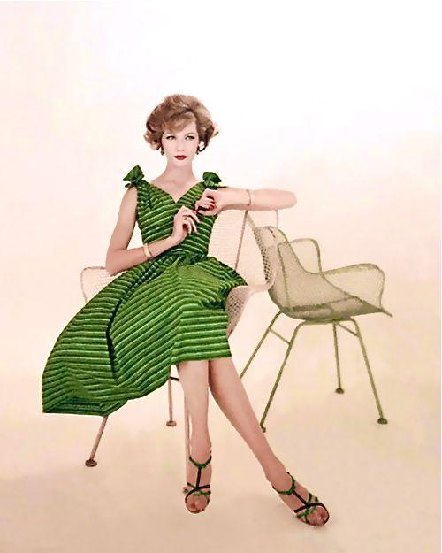1958. #dress #green #sundress #summer #vintage #retro #fashion #clothing #1950s