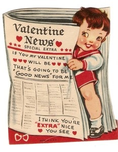 Vintage newspaper-theme Valentine.