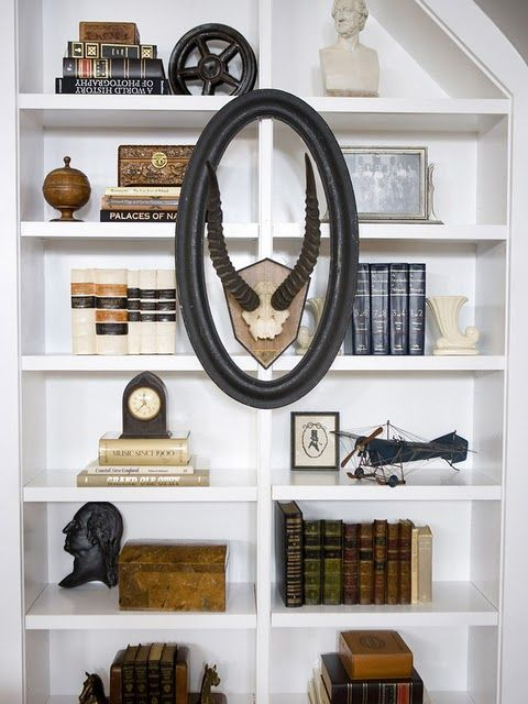 masculine bookcase/styling  emily henderson