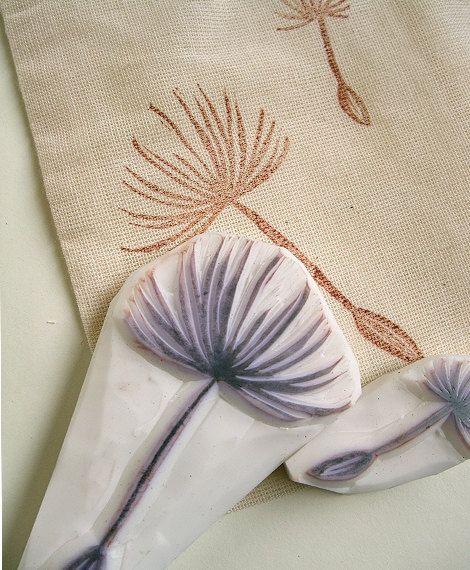 DANDELION hand carved rubber stamps - handmade  rubber stamp - dandelion seeds flying in the sky - set of 2. $18.00, via Etsy.